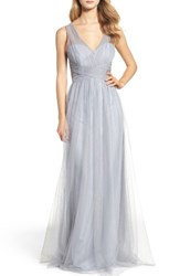 Hayley Paige Occasions Women's Illusion Gown Pewter
