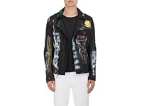 Resurrect By Night Men's Rebel And Young Departed Painted Leather Jacket Black Gold Red Yellow Green Purple White