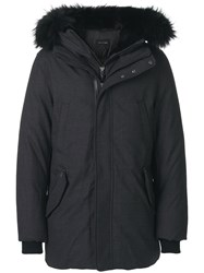 Mackage Fur Hood Parka Wool Viscose Polyester Feather Grey