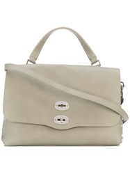 Zanellato Foldover Studded Tote Women Cotton Leather Suede One Size Nude Neutrals