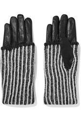Y 3 Adidas Originals Leather Trimmed Mohair Gloves Black
