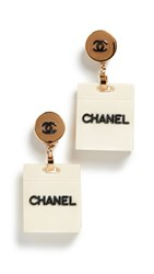 Wgaca What Goes Around Comes Around Chanel Gold Acrylic Dangle Earrings Gold White