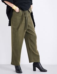 Daniel Gregory Natale Herringbone Pattern Dropped Crotch High Rise Gabardine Trousers Olive