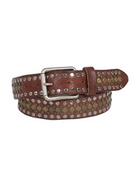 Will Leather Goods Singer Studded Leather Belt Brown