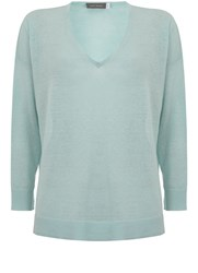 Mint Velvet Aqua V Neck Side Split Knit Light Blue