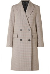 Theory Genesis Double Breasted Houndstooth Cotton And Wool Blend Coat Beige