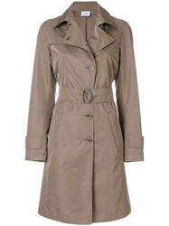 Akris Belted Trench Coat Polyester Viscose Nude Neutrals