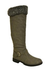 Twisted Amira Faux Fur Boot Gray