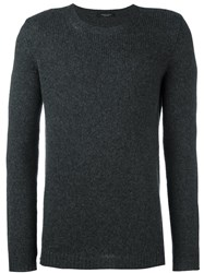 Roberto Collina Cable Knit Crew Neck Jumper Grey