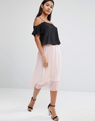 Tfnc Foiled Metallic Pleated Midi Skirt Cream With Rosegold