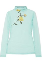 Dries Van Noten Floral Print Stretch Tulle Turtleneck Top Turquoise