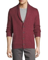 Penguin Shawl Collar Button Front Cardigan Red