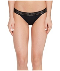 Dkny New Classic Cotton Lace Trim Thong Black Women's Underwear