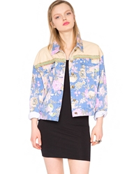 Pixie Market Floral Chain Denim Jacket