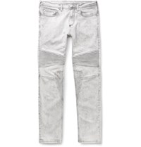 Neil Barrett Slim Fit Bleached Stretch Denim Biker Jeans White