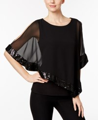 Msk Sequined Chiffon Asymmetrical Blouse Black