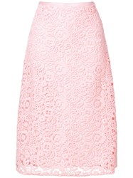 Miu Miu Floral Crochet Midi Skirt Pink And Purple