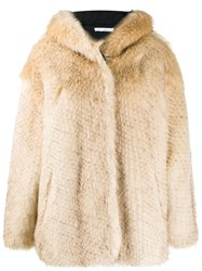 Iro Faux Fur Coat Neutrals
