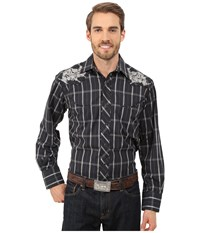 Roper 0099 Black Window Plaid Black Men's Long Sleeve Button Up