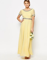 Maya Deep Back Maxi Dress With Full Skirt And Embellishment Pastel Yellow Pink
