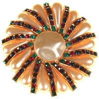 Alice Joseph Vintage 1960S Gold Toned Pearlised Bead And Glass Crystal Flower Brooch Multi