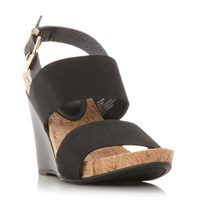 Dune Kailee Elasticated Strap Wedge Sandals Black