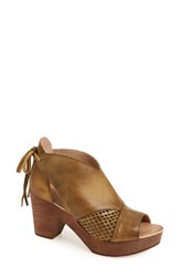 Free People Women's Revolver Open Toe Clog Khaki Leather