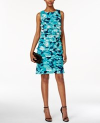 Jessica Howard Petite Printed Tiered Shift Dress Blue