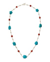 Turquoise And Red Agate Silver Necklace Stephen Dweck