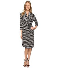 Karen Kane 3 4 Sleeve Cascade Wrap Dress Print Women's Dress Multi