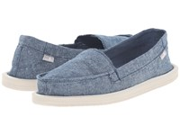 Sanuk Shorty Tx Slate Blue Chambray Women's Flat Shoes
