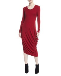 Urban Zen Scoop Neck Long Sleeve Draped Jersey Midi Dress Red