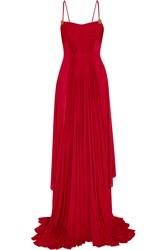Vionnet Plisse Satin Jumpsuit Red
