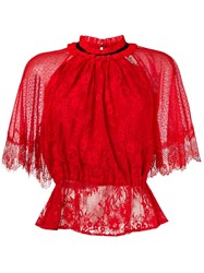 Three Floor Lace Patterned Blouse Red