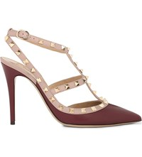 Valentino Rockstud 100 Leather Heeled Courts Red Dark