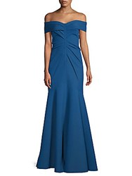 Rene Ruiz Off Shoulder Scuba Gown Teal