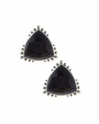 Stephen Dweck Triangle Agate Button Earrings Silver