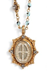 Virgins Saints And Angels Oval Pinto San Benito Magdalena Rosary Necklace Tortoise Accents W Gold