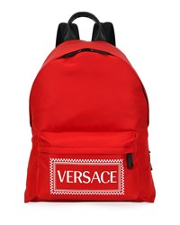 Versace Logo Stamped Nylon Backpack Red