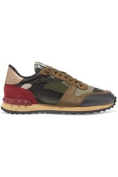 Valentino Garavani Leather And Suede Trimmed Camouflage Print Canvas Sneakers Army Green