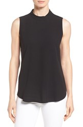 Eileen Fisher Women's Silk Crepe High Neck Sleeveless Blouse Black