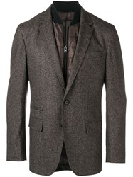 Hugo Boss Layered Padded Detailed Blazer Brown
