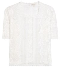 Marc Jacobs Embroidered Cotton Blouse White