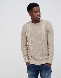 New Look Cable Knit Jumper In Beige Off White