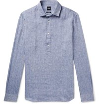 Hugo Boss Linen Chambray Half Placket Shirt Navy