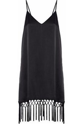 Cami Nyc The Cory Tie Back Fringe Trimmed Silk Charmeuse Dress Black