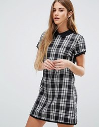 Wal G Check Shift Dress Black White Multi