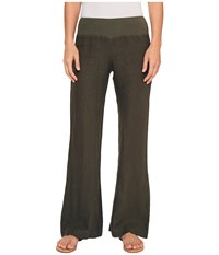 Three Dots Linen Wide Leg Pants Tapenade Women's Casual Pants Brown