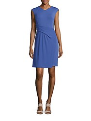 Lafayette 148 New York Solid V Neck Sheath Dress Regency Blue