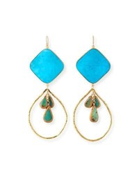 Devon Leigh Large Turquoise Cluster Drop Earrings